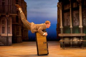 Owain Arthur (Francis Henshall) in One Man, Two Guvnors at the Theatre Royal Haymarket. Photo credit Johan Persson